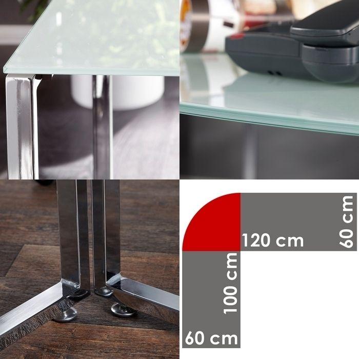 design schreibtisch eckschreibtisch manhattan weiss glas. Black Bedroom Furniture Sets. Home Design Ideas