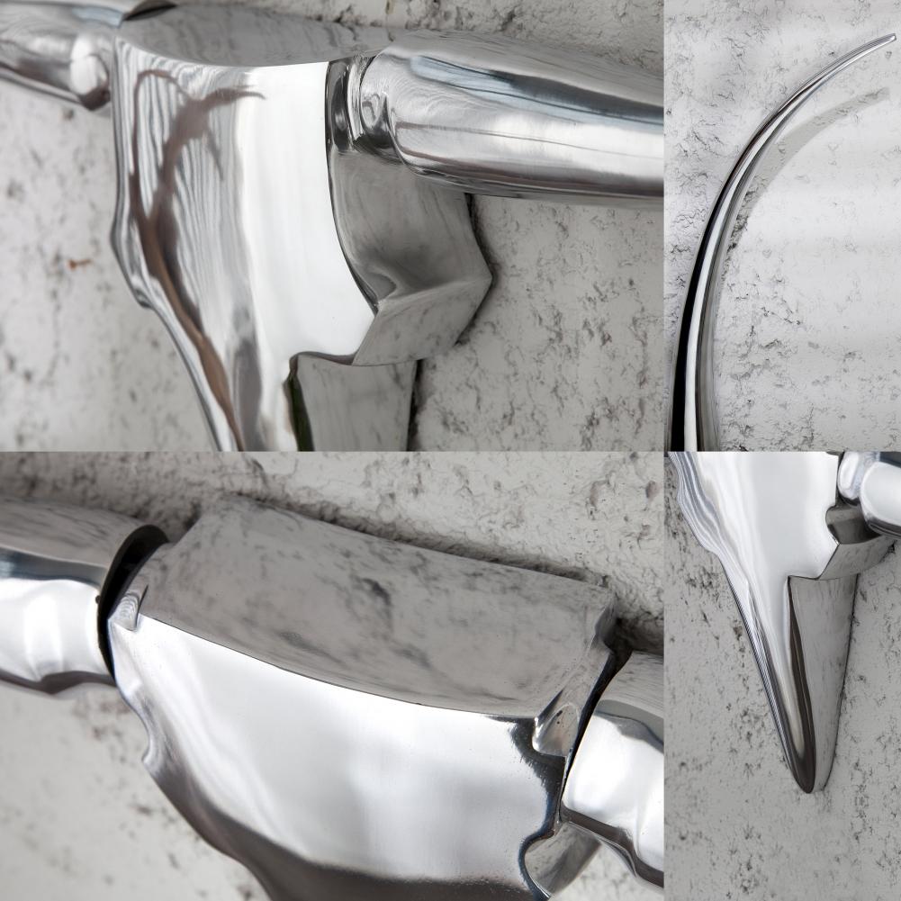 deko stierkopf sch del geweih arizona silber aus poliertem aluminium 100cm neu ebay. Black Bedroom Furniture Sets. Home Design Ideas