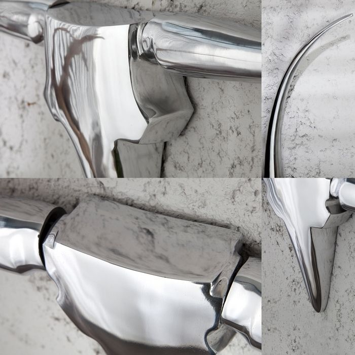 deko stierkopf sch del arizona silber aus poliertem aluminium 100cm l nge portofrei kaufen cag. Black Bedroom Furniture Sets. Home Design Ideas