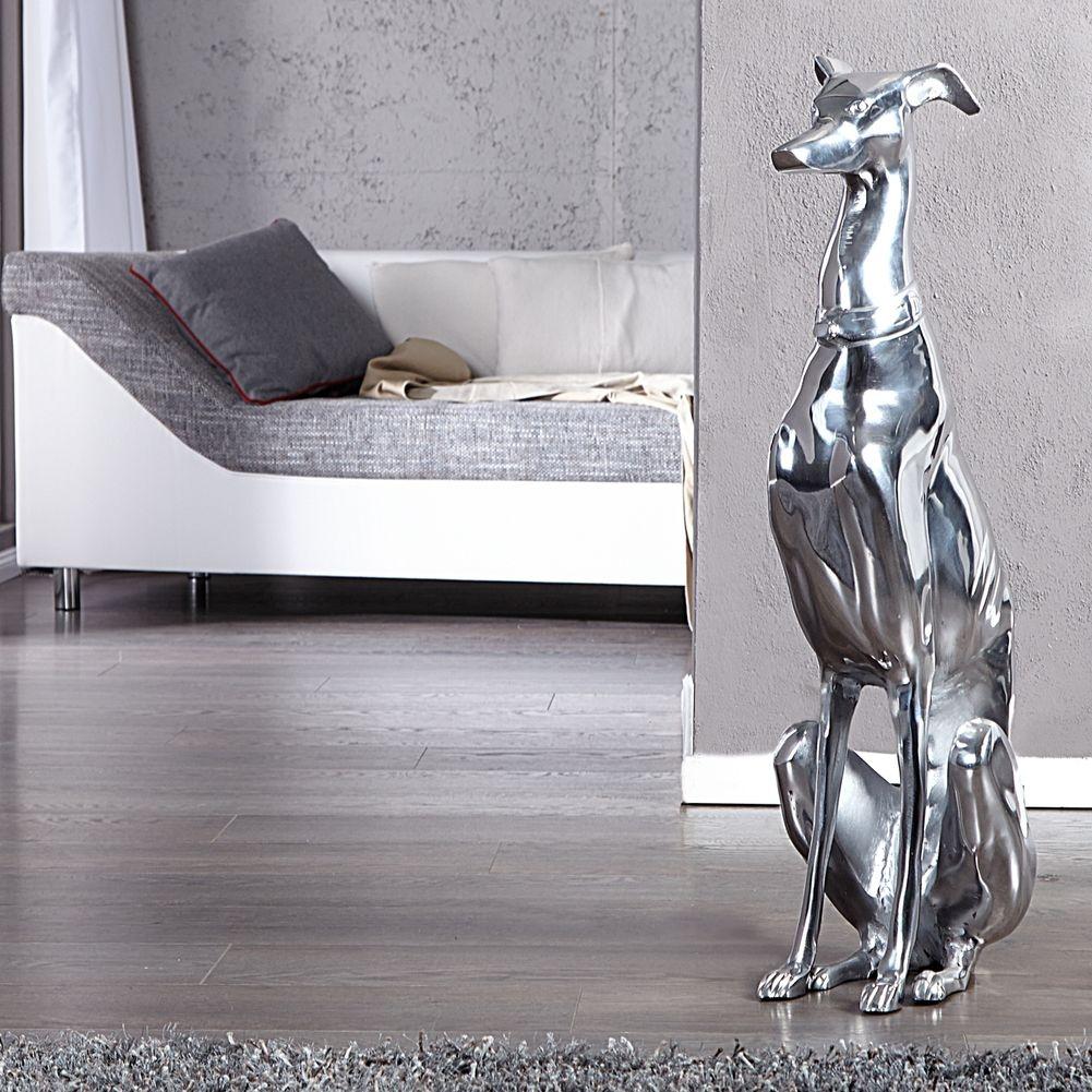 deko skulptur windhund galgo espa ol silber aus poliertem. Black Bedroom Furniture Sets. Home Design Ideas