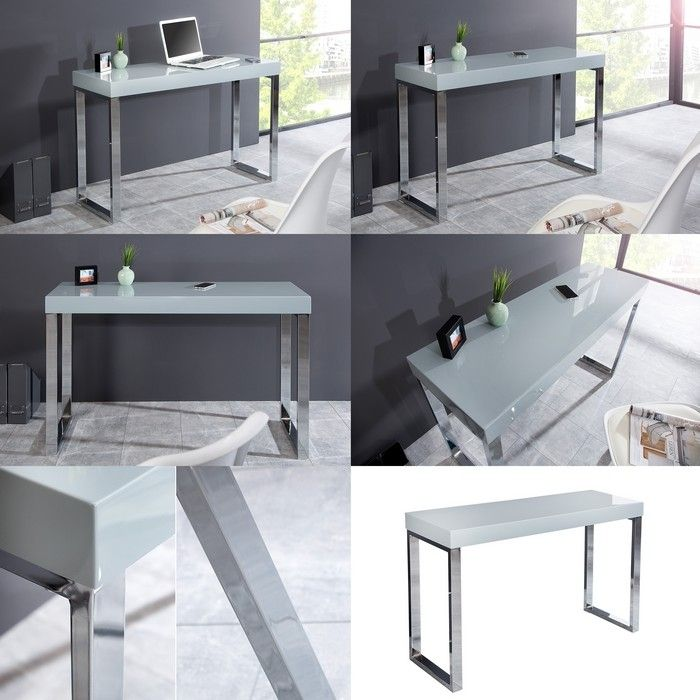 design schreibtisch laptoptisch london weiss hochglanz chrom 120cm neu ebay. Black Bedroom Furniture Sets. Home Design Ideas