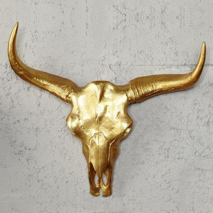 deko stierkopf sch del geweih rodeo gold aus poliertem aluminium 73cm neu ebay. Black Bedroom Furniture Sets. Home Design Ideas