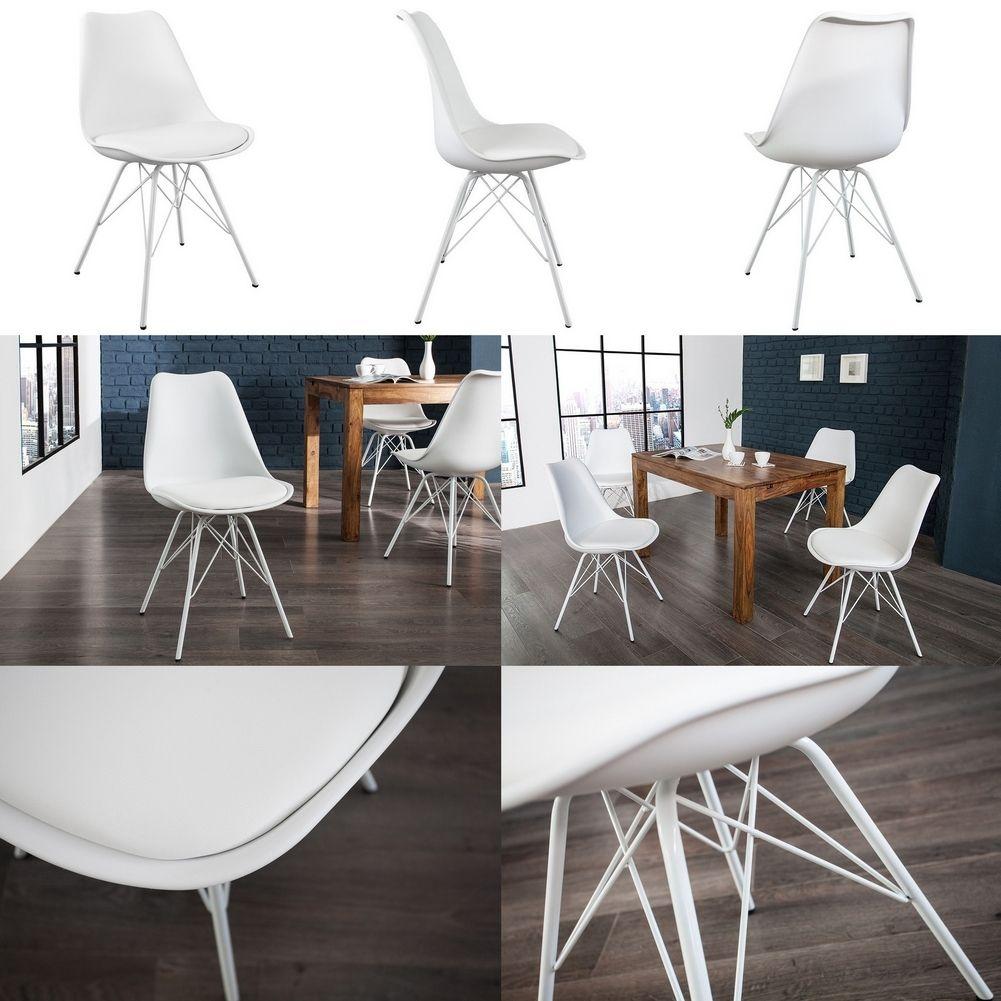 retro design stuhl g teborg weiss metallgestell weiss im. Black Bedroom Furniture Sets. Home Design Ideas