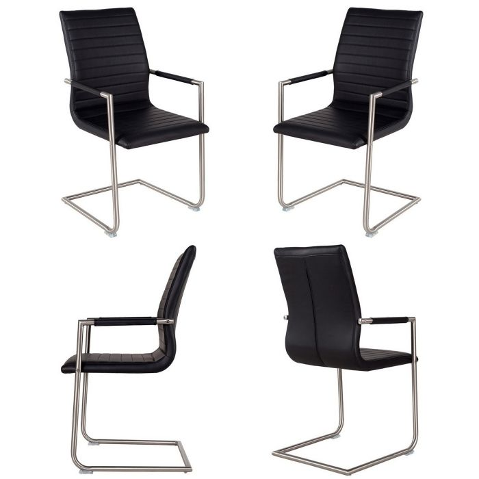 Design freischwinger stuhl chicago schwarz mit armlehne for Stuhl mit armlehne schwarz