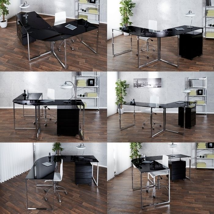 design schreibtisch eckschreibtisch manhattan schwarz glas chrom 180cm 160cm ebay. Black Bedroom Furniture Sets. Home Design Ideas