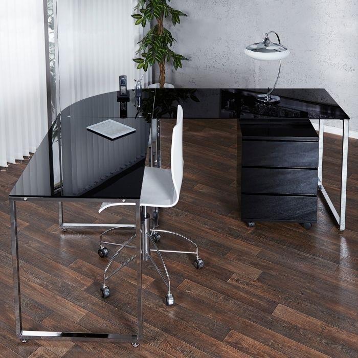 design schreibtisch eckschreibtisch manhattan schwarz glas chrom 180cm 160cm ebay. Black Bedroom Furniture Sets. Home Design Ideas