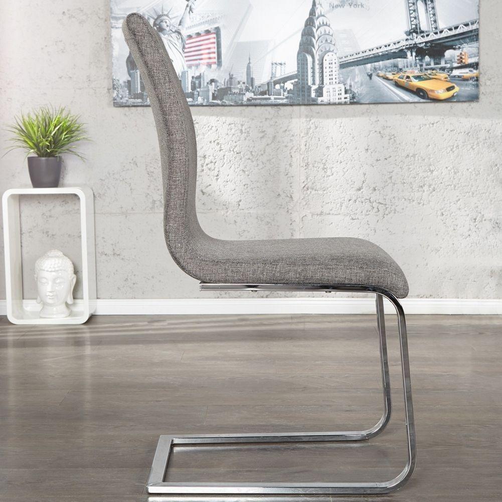 design freischwinger stuhl enzo grau aus strukturstoff. Black Bedroom Furniture Sets. Home Design Ideas