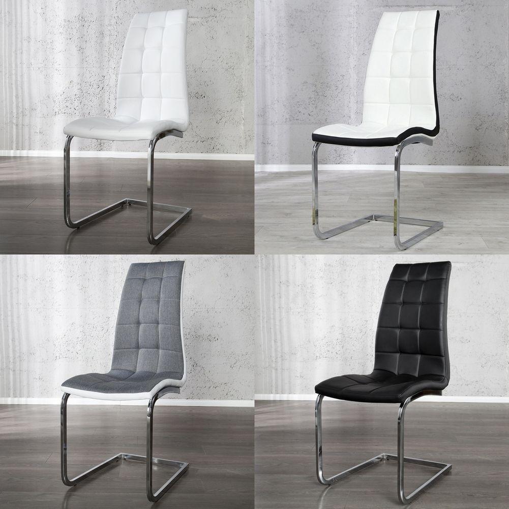 freischwinger stuhl phoenix grau weiss gesteppt aus kunstleder strukturstoff ebay. Black Bedroom Furniture Sets. Home Design Ideas