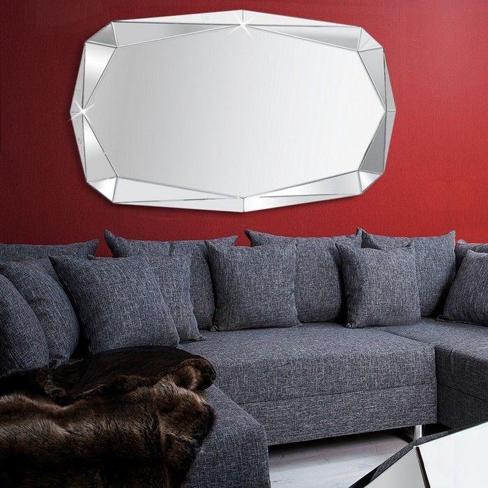 Xl design wandspiegel spiegel diamant mit - Wandspiegel facettenschliff ...