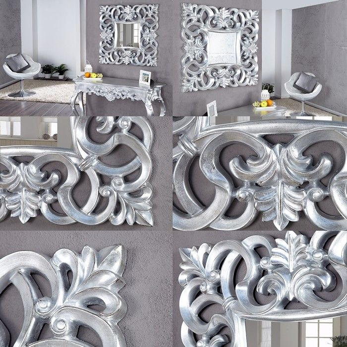 Romantischer wandspiegel florence silber antik in barock design 75cm x 75cm ebay - Barock wandspiegel silber ...