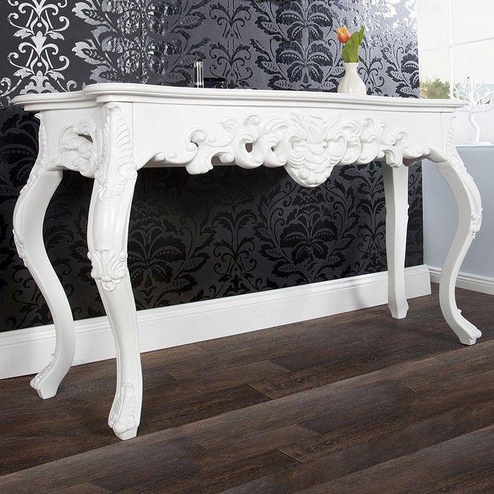romantische konsole florence wei in barock design 110cm x 35cm versandkostenfrei online kaufen. Black Bedroom Furniture Sets. Home Design Ideas