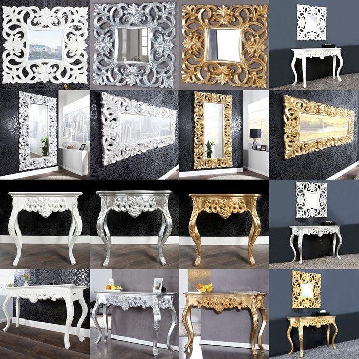 romantische konsole florence silber antik in barock design 110cm x 35cm versandkostenfrei online. Black Bedroom Furniture Sets. Home Design Ideas