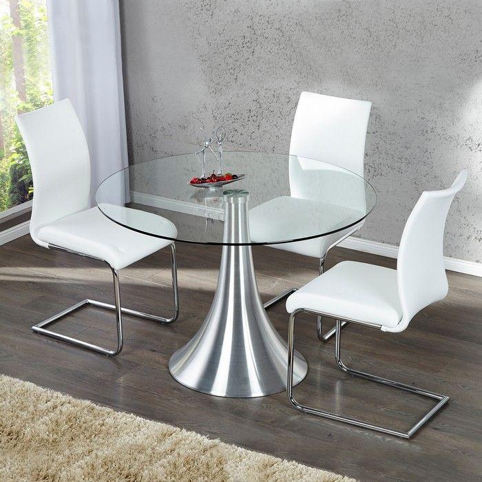 esstisch ronda mit glasplatte und tulpenfu aus aluminium 110cm portofrei kaufen cag. Black Bedroom Furniture Sets. Home Design Ideas