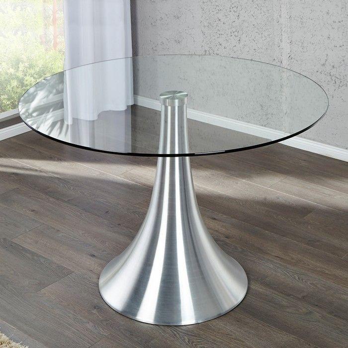 Esstisch ronda mit glasplatte und tulpenfu aus aluminium for Esstisch glas 80x80