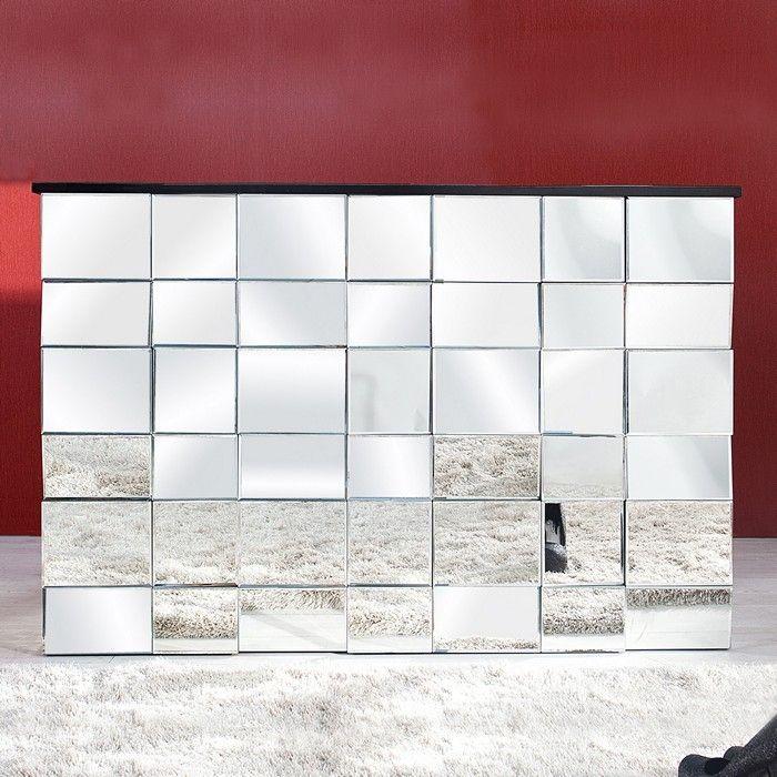 Designermöbel highboard  Sideboard MULTIPLEX mit Facettenschliff & 44 Spiegelflächen 130cm ...