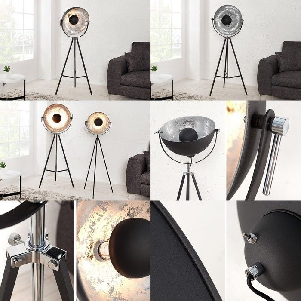 stehlampe spot schwarz silber 160cm h he verstellbar. Black Bedroom Furniture Sets. Home Design Ideas