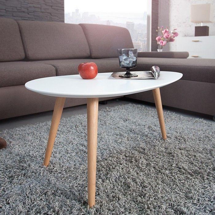 Retro Design Couchtisch Goteborg Weiss Eiche 75cm Im