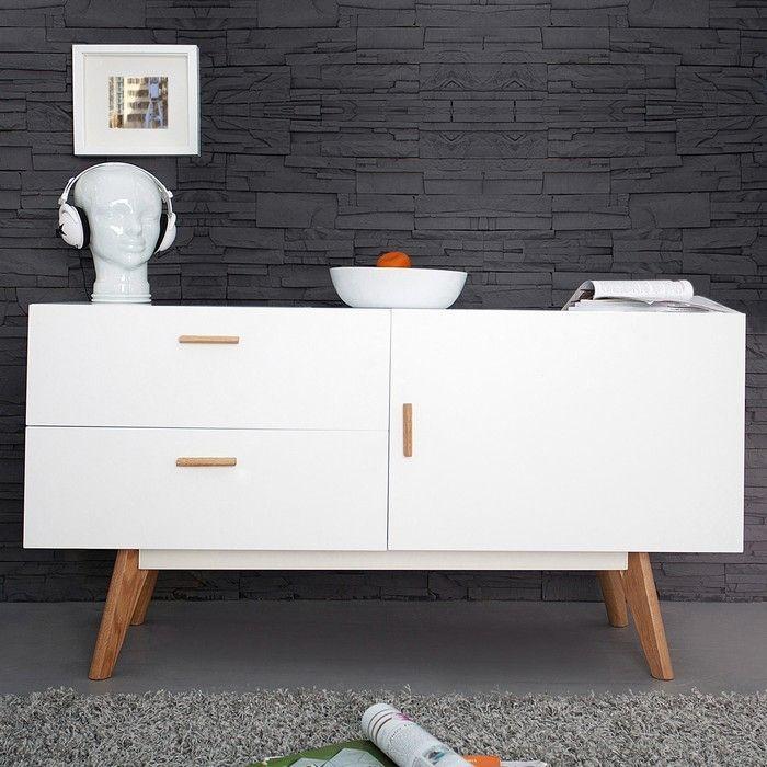 retro sideboard g teborg wei eiche 120cm im skandinavischen stil portofrei online kaufen cag. Black Bedroom Furniture Sets. Home Design Ideas