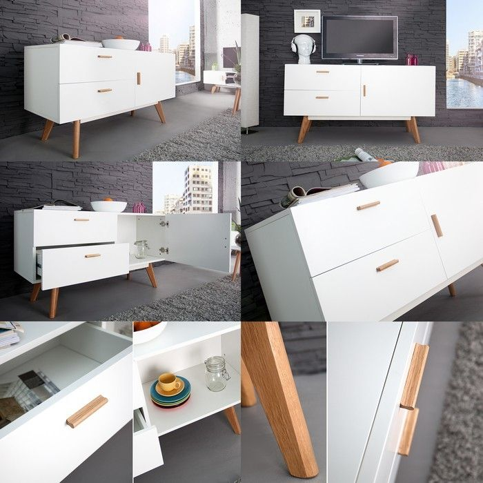 retro design sideboard kommode g teborg weiss eiche 120cm skandinavischer stil ebay. Black Bedroom Furniture Sets. Home Design Ideas