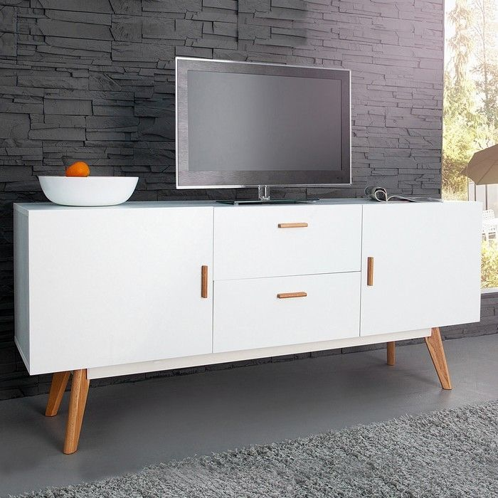 retro design sideboard kommode g teborg weiss eiche 160cm skandinavischer stil ebay. Black Bedroom Furniture Sets. Home Design Ideas