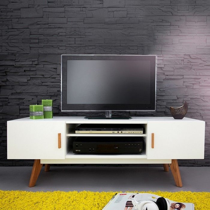 retro tv tisch g teborg wei eiche 120cm im skandinavischen stil portofrei online kaufen cag. Black Bedroom Furniture Sets. Home Design Ideas