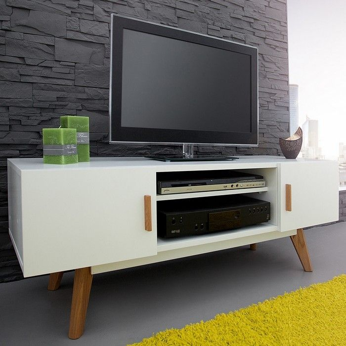 retro tv tisch g teborg wei eiche 120cm im. Black Bedroom Furniture Sets. Home Design Ideas