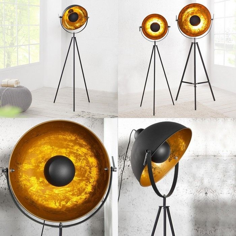 stehlampe spot schwarz gold 140cm h he portofrei kaufen. Black Bedroom Furniture Sets. Home Design Ideas