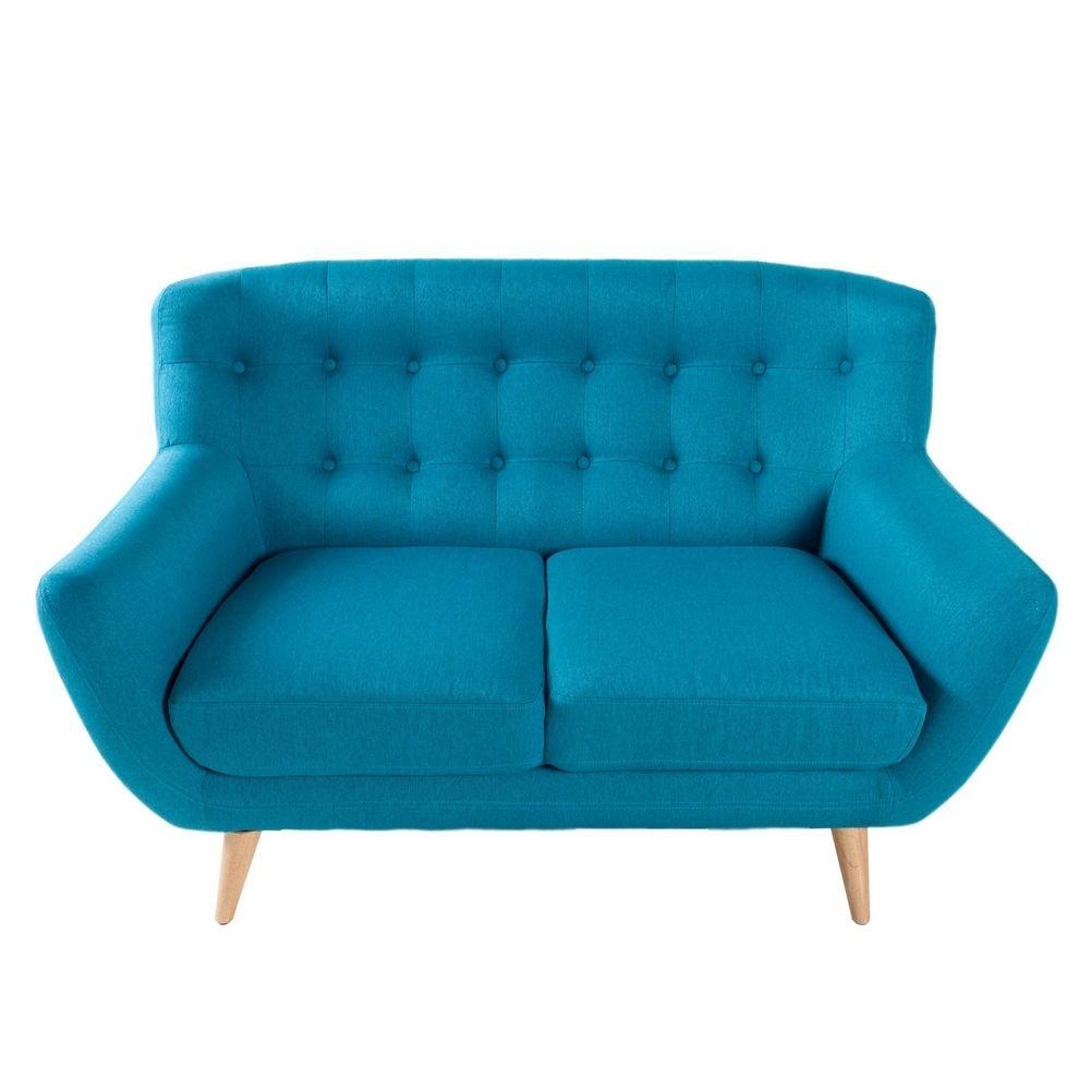 retro 2er sofa g teborg petrolblau eiche im. Black Bedroom Furniture Sets. Home Design Ideas