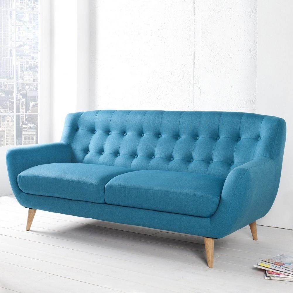 AuBergewohnlich Retro 3er Sofa GÖTEBORG Petrolblau Eiche Im Skandinavischen Stil