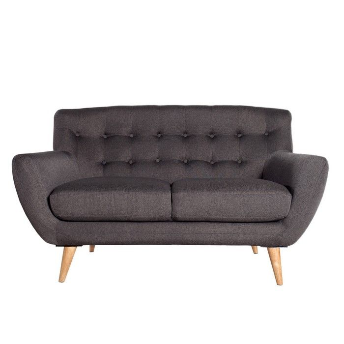 Retro design 2er sofa g teborg anthrazit eiche im for Sofa 60er stil