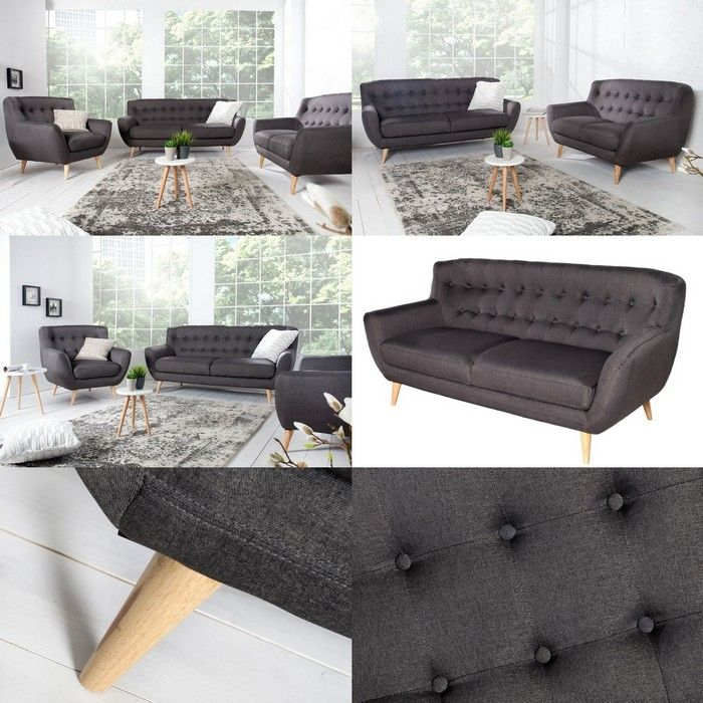retro 2er sofa g teborg anthrazit eiche im skandinavischen. Black Bedroom Furniture Sets. Home Design Ideas