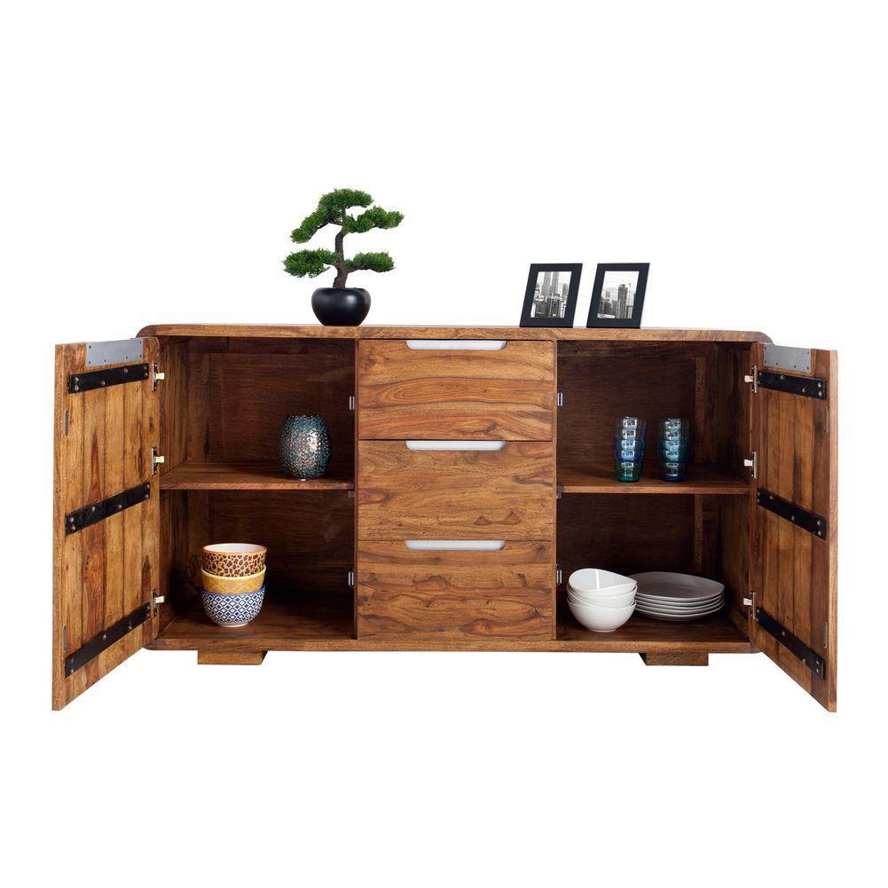 sideboard daipur sheesham massiv holz gewachst 145cm x 80cm portofrei kaufen cag onlineshop. Black Bedroom Furniture Sets. Home Design Ideas
