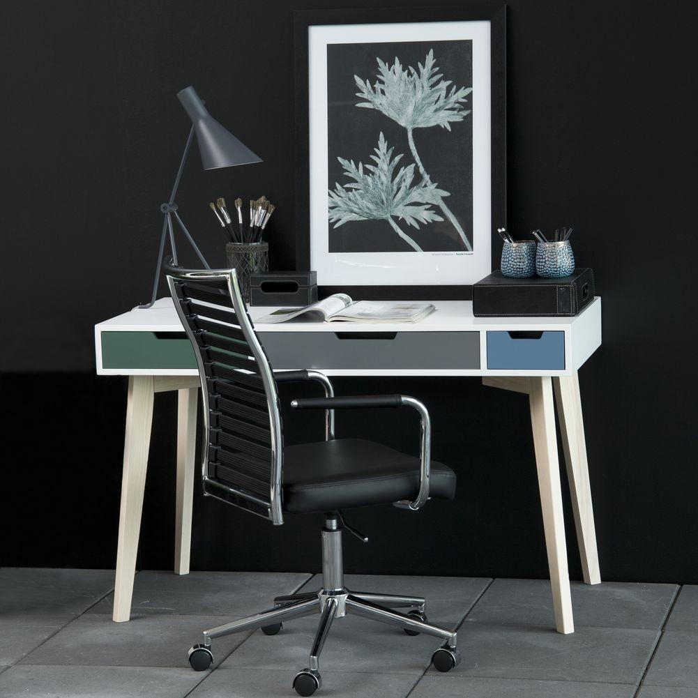 design schreibtisch viborg wei esche mit 3 schubladen. Black Bedroom Furniture Sets. Home Design Ideas