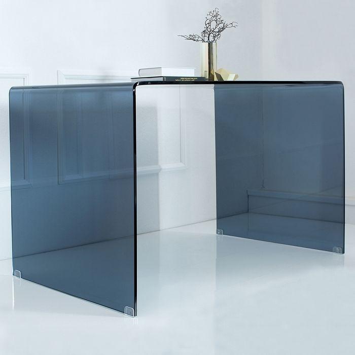 Glas Couchtisch MAYFAIR Trapez Transparent 80cm Gnstig Portofrei