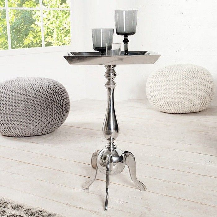 barock beistelltisch laval eckig silber aus aluminium 55cm. Black Bedroom Furniture Sets. Home Design Ideas