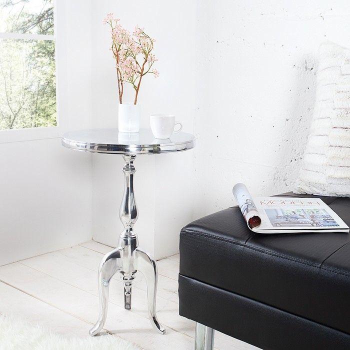 Barock beistelltisch laval rund silber aus aluminium 55cm - Beistelltisch silber rund ...