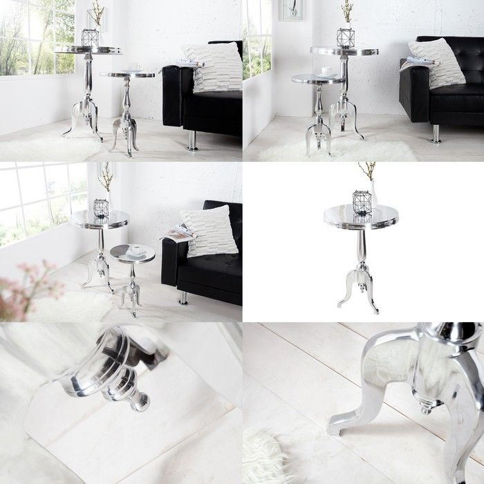 beistelltisch silber rund icnib. Black Bedroom Furniture Sets. Home Design Ideas