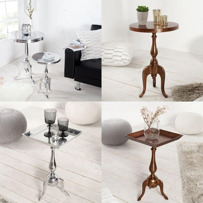 design barock beistelltisch laval rund silber aus. Black Bedroom Furniture Sets. Home Design Ideas