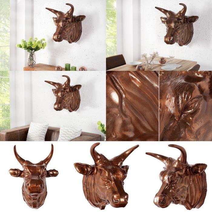 xl design deko stierkopf sch del minotaurus kupfer aus aluminium 55cm neu ebay. Black Bedroom Furniture Sets. Home Design Ideas