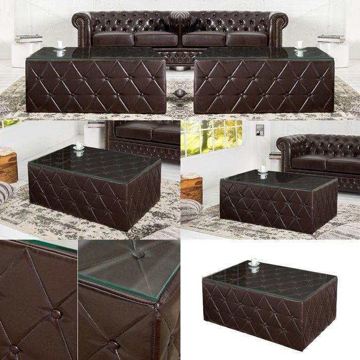 couchtisch winchester dunkelbraun 100cm im klassisch englischen chesterfield stil portofrei. Black Bedroom Furniture Sets. Home Design Ideas