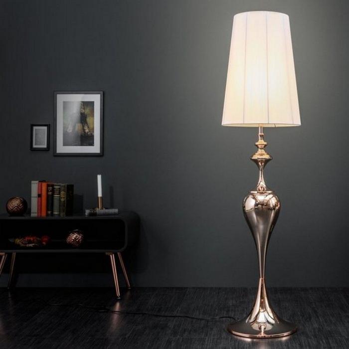 Stehlampe 'SCARLET' mit extravagantem Lampenfuß in Roségold