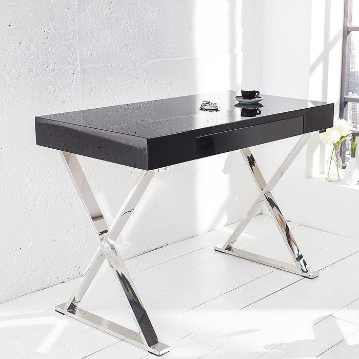 Schreibtisch London Schwarz Hochglanz Mit Schublade Gestell Chrom