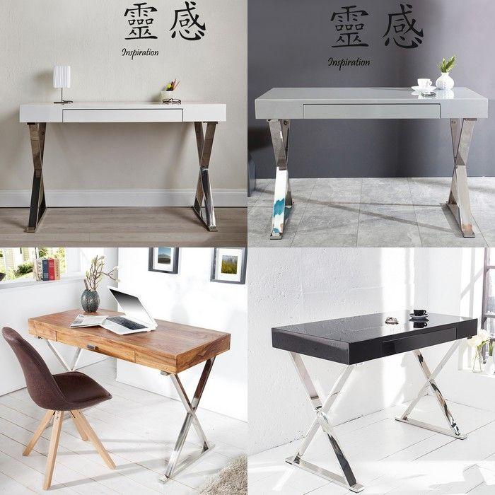 schreibtisch london schwarz hochglanz mit schublade gestell chrom 100cm cag onlineshop. Black Bedroom Furniture Sets. Home Design Ideas