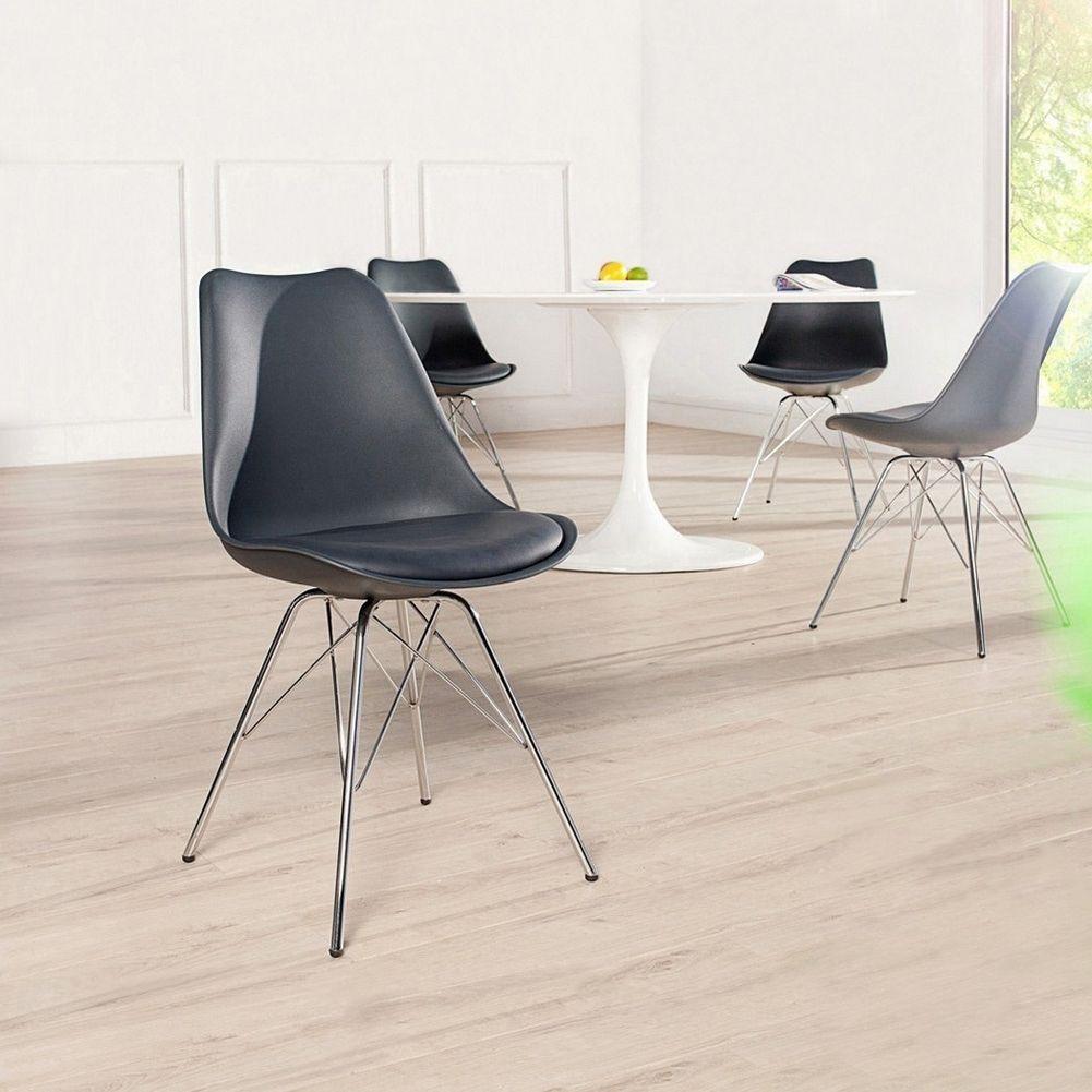 Retro Stuhl GÖTEBORG Schwarz U0026 Chromgestell Im Skandinavischen Stil