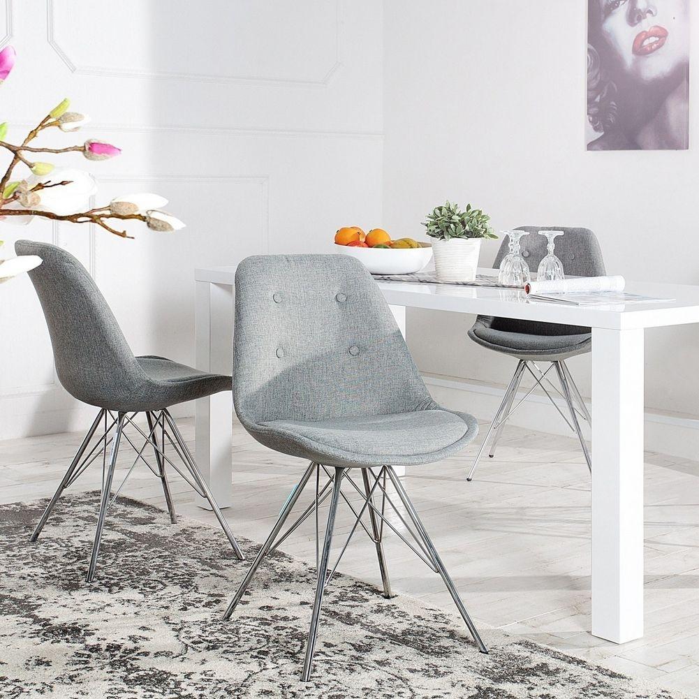 Hervorragend Retro Stuhl GÖTEBORG Grau Mit Knöpfen Strukturstoff U0026 Chromgestell Im  Skandinavischen Stil