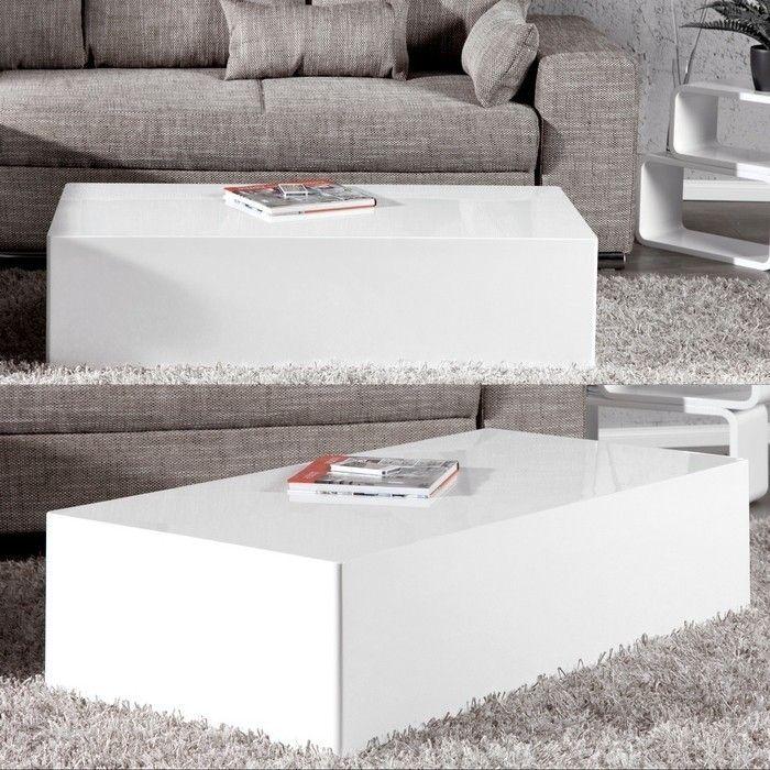 Couchtisch BLOC Weiß Hochglanz 100cm portofrei günstig  -> Couchtisch Weiß Hochglanz Günstig