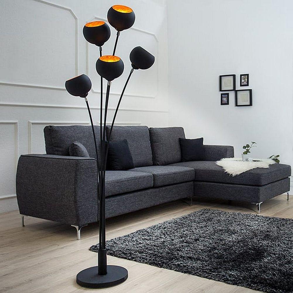 5er set stehlampe spot schwarz gold 170cm h he portofrei kaufen cag onlineshop designerm bel. Black Bedroom Furniture Sets. Home Design Ideas