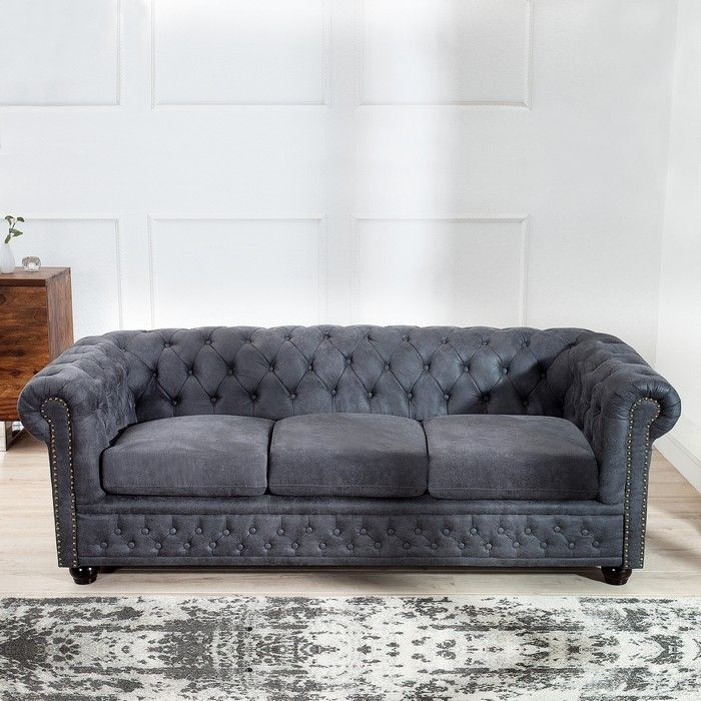 3er Sofa WINCHESTER Grau im klassisch englischen Chesterfield-Stil ...