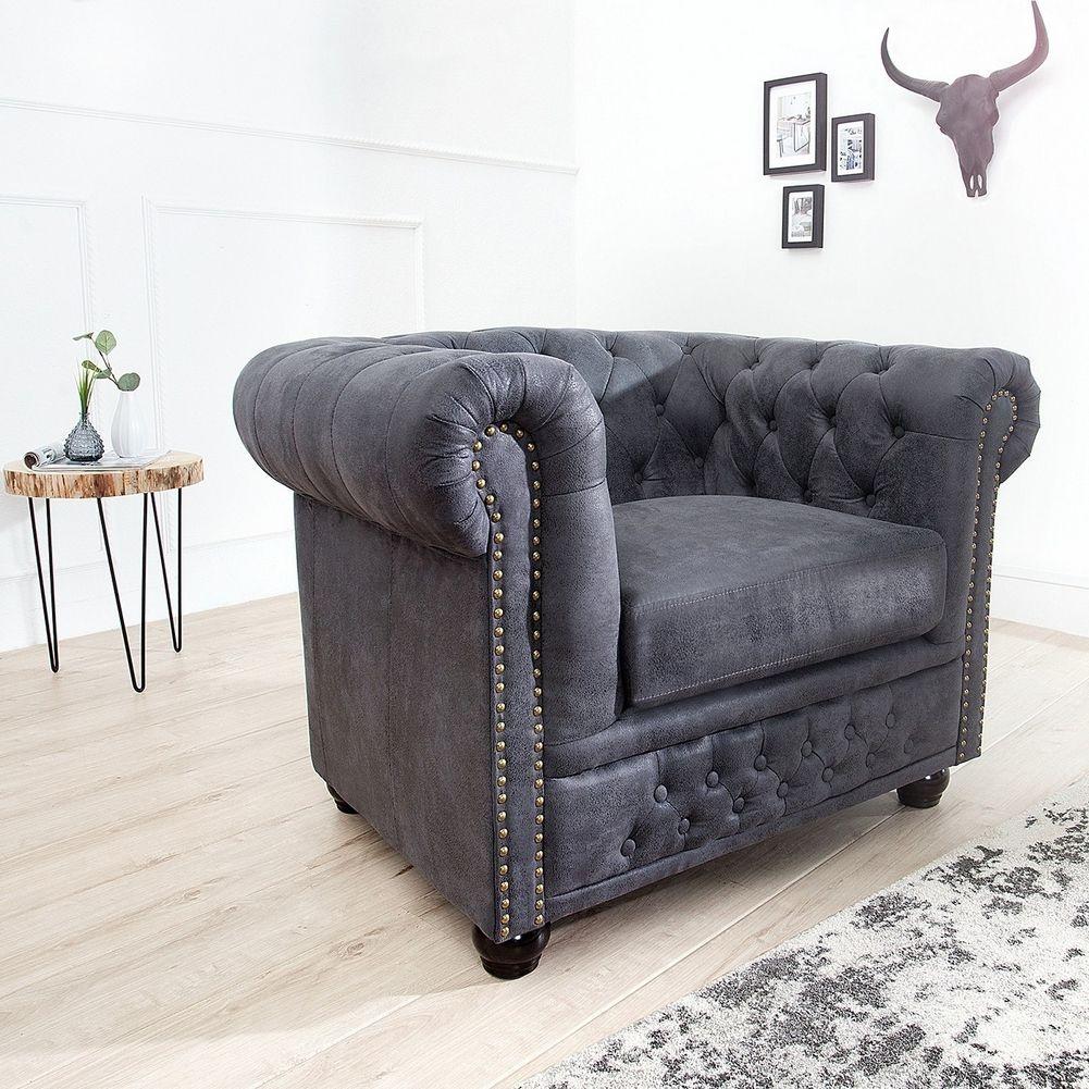 sessel winchester grau im klassisch englischen chesterfield stil portofrei kaufen cag. Black Bedroom Furniture Sets. Home Design Ideas