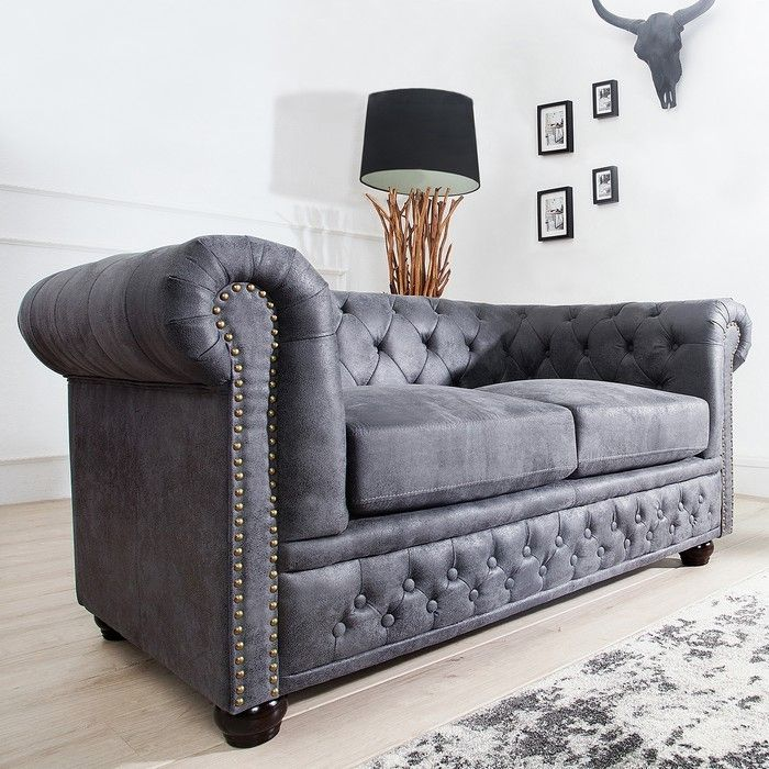 edles chesterfield 2er sofa winchester grau kunstleder chaiselounge neu ebay. Black Bedroom Furniture Sets. Home Design Ideas